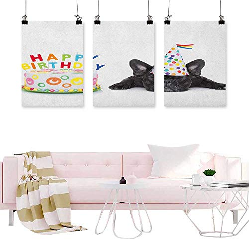 (J Chief Sky Kids Birthday,Wall Art Print Sleepy French Bulldog Party Cake with Candles Cone Hat Celebration Image Abstract Painting W24 x L48 x3pcs)