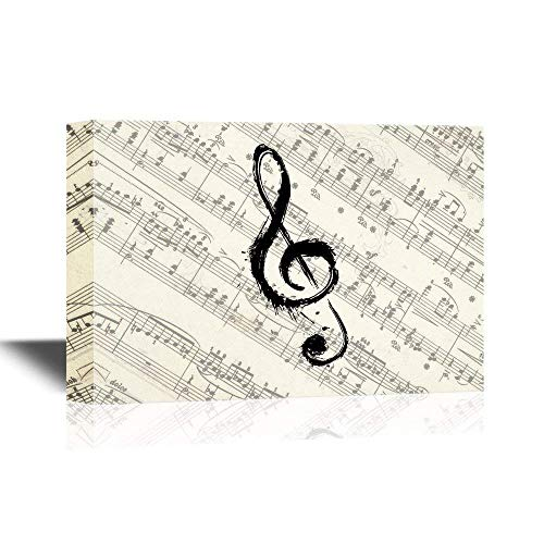 Music Note on Vintage Musical Score Paper