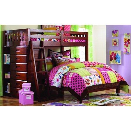 Mission Merlot Loft - Nerine Twin Over Full Loft Bed - Chest, Shelves, Merlot Finish by Donco Kids