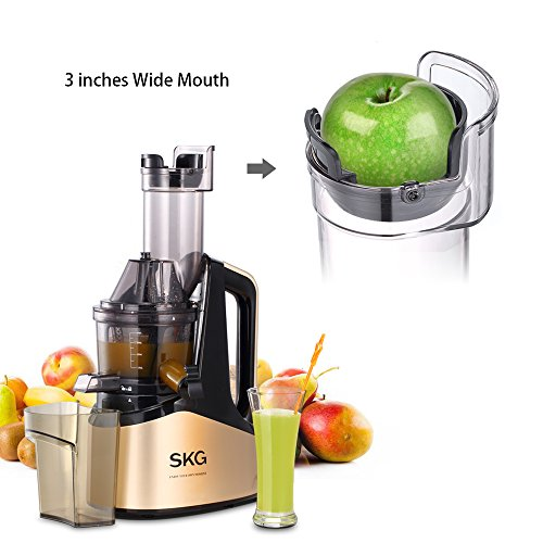 SKG Slow Masticating Juicer Extractor with Wide Chute (240W AC Motor, 43 RPMs, 3″ Big Mouth) Anti-Oxidation Lower Noisy – Vertical Masticating Cold Press Juicer-Champagne Review