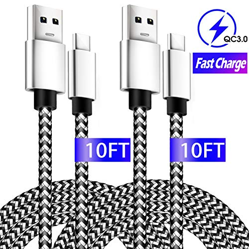 USB Type C Cable 10ft, 2 Pack Fast Charging Cable for Samsung Galaxy S10 Plus, Extra Long Braided USB C Cable for Google Pixel 3 2 4 Samsung Note10 S9 S8 A50 Moto Z LG G8/7 Nintendo Switch