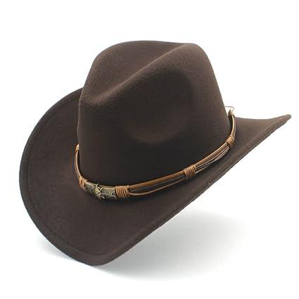 Ddpvopd Cappello Western Cowboy di Moda con Punk Blet Lady Feltro Cowgirl  Sombrero Berretti per Le 4ea6bf1a804c