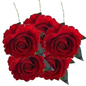 Inverlee 5 Pcs Artificial Flowers Silk Rose Fake Flowers Wedding Bridal Bouquet DIY Home Garden Decor (G) 33