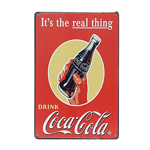 Retro Coca Cola Advert Pin Up Tin Metal Sign It's The Real Thing, Wall Decor for Home Bar Garage, 8x12 Inch/20x30cm