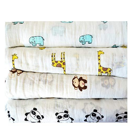 (Roo Threads 4 Pack Large Baby Muslin Swaddle Blankets - Plus Bandana Bib)