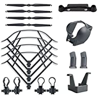 YiSeyruo Accessories Kit Bundle for DJI Mavic Pro, Included Folding Propellers+Propeller Protector +Landing Gear+Lens Hood+Transmitter Controller Stick Thumb Screen Protector