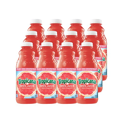 Tropicana Ruby Red Grapefruit Juice, 32 oz Bottles, 12 Count