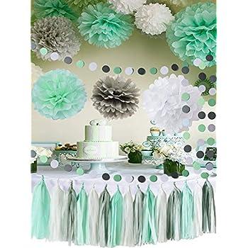 mint baby shower decorationsmint grey white elephant baby shower supplies tissue paper pom pom