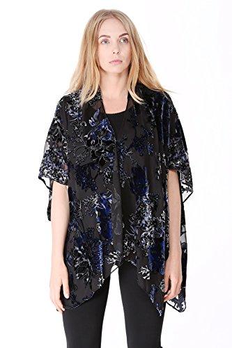 Outcrews Women's Floral Burnout Velvet Kimono Top Cardigan W/Short Sleeves, Cover up, One Size (Velvet Burnout Top)