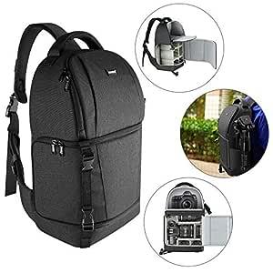 Neewer Kameraväska med sele – kamerafodral med vadderade avdelare för DSLR och spegelfria kameror (Nikon, Canon, Sony Pentax Olympus etc.), lins, stativ och andra tillbehör (svart)