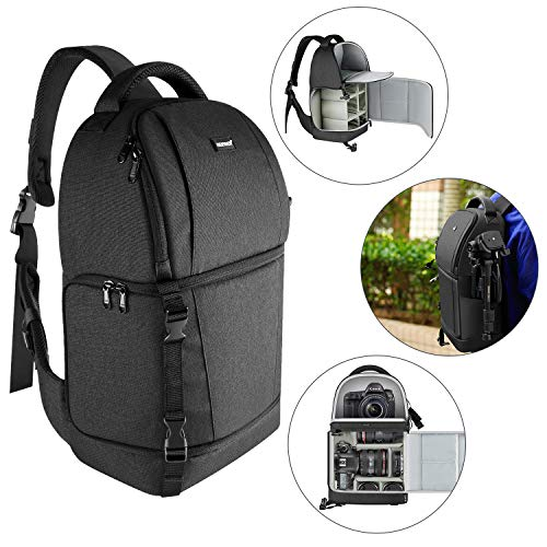 Neewer Sling Camera Bag - Camera Case Backpack with Padded Dividers for DSLR and Mirrorless Cameras (Nikon, Canon, Sony Pentax Olympus etc.), Lens, Tripods and Other Accessories(Black)