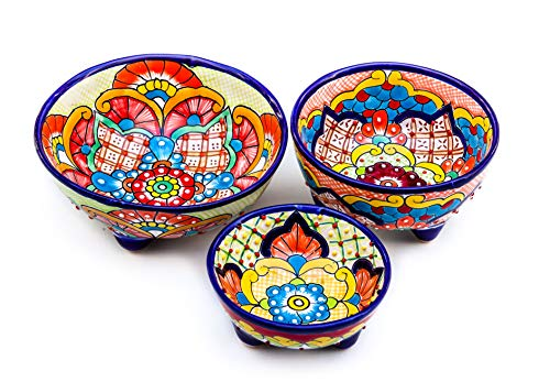 Unique Hand Painted Talavera Pottery Molcajete Chip and Dip Salsa Bowl Serving Set of 3. Colorful Mexican Style Kitchen Decor Accesories. Floral design, for Guacamole, Salad, Pita Snack, Salt, - Accesories Server