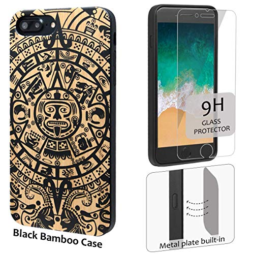 iProductsUS Totem Phone Case Compatible with iPhone 8Plus, 7Plus, 6Plus, 6s Plus and Screen Protector-Black Bamboo Cases Engrave Mayan Calendar, Built-in Metal Plate, TPU Protective Covers (5.5