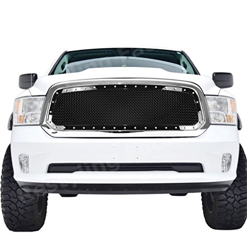 Restyling Factory 2013-2017 Dodge RAM 1500 Truck Black Complete Front Hood Mesh Grille Full Replacement Grille with Chrome Shell (Black/Chrome)