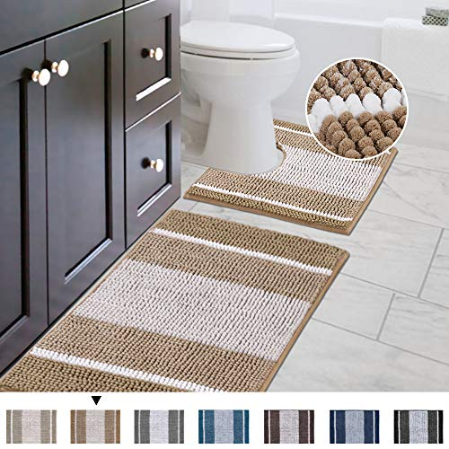 Original Striped Shaggy Chenille 2 Piece Bath Rug Set, 20x20 Square U-Shape Contoured Toilet Mat & 32x20 Carpet Rug, Machine Wash/Dry Mats, Soft, Plush Rugs for Tub Shower (Beige)