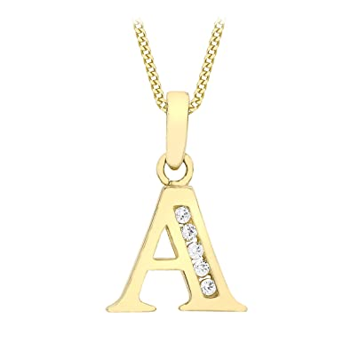 Carissima gold 9ct yellow gold a cubic zirconia initial pendant on carissima gold 9ct yellow gold a cubic zirconia initial pendant on curb chain necklace of 46cm mozeypictures Gallery