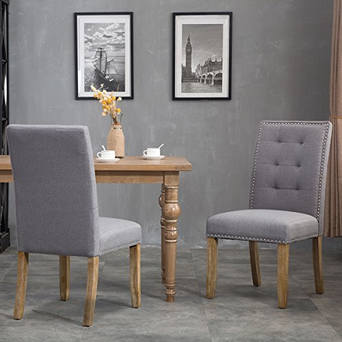 Merax PP036192EAA Set of 2 Stylish Tufted Upholstered Fabric Dining Chairs with Nailhead Detail and Solid Wood Legs, (Wood Upholstered Dining Table Set)