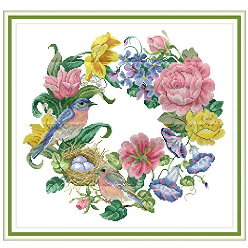 cici store DIY Counted Cross Stitch Kits for Beginners-Bird Wreath (5047CM),Handmade 14CT Printed Embroidery Kit Needlework Craft