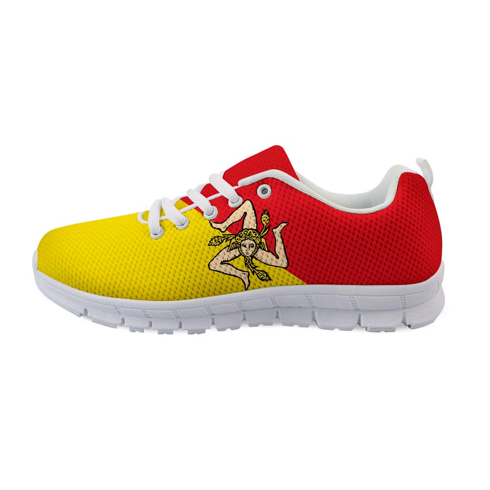 Owaheson Lace-up Sneaker Training Shoe Mens Womens Sicily Flag