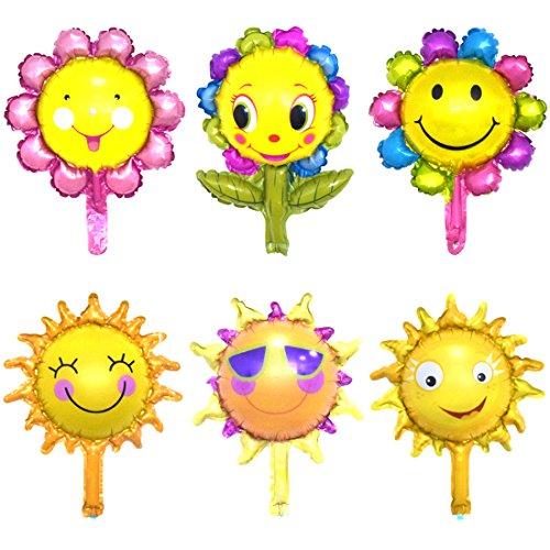 "- LDODO Sunshine Balloon Sunshine Helium Balloons Sunshine Sun Smile Face For Birthday Wedding Bridal Shower Party Decoration 16"" 6PCS"