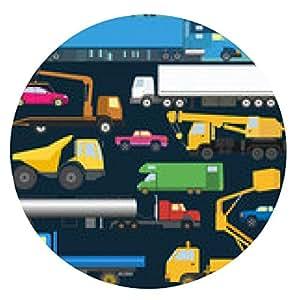 alfombrilla de ratón Conjunto de elementos de transporte de carga: camiones, camiones para la creación - ronda - 20cm