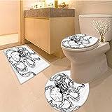 3 Piece Anti-slip mat set Hipster Tattoo Style Artwork Undersea Creature Monster Cartoon Print Extralong White Non Slip Bathroom Rugs