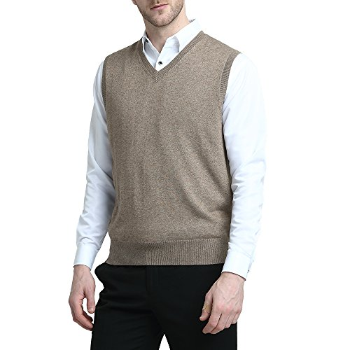 Kallspin Men's Cashmere Wool Blend Relax Fit Vest Knit V-Neck Sweater (L, Coffee)