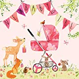 Twizler New Baby Girl Card with Pink Pram, Bunting and Woodland Animals - New Baby Card Girl - Newborn Essentials - Congratulations Card - Cute Card - New Baby Gifts - New Baby Girl Gifts