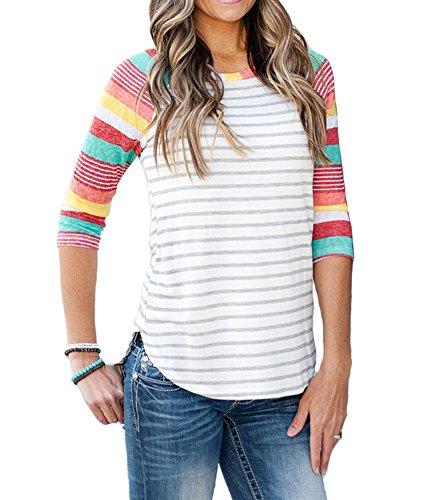 MEROKEETY Women's Striped Floral Print Raglan Blouse Tops 3/4 Sleeve Baseball T Shirt