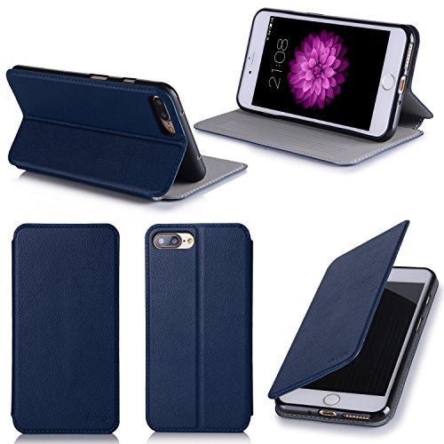 Apple iPhone 7 Plus 5.5 zoll Hülle Ultra Slim Tasche Leder blau Cover mit Stand - Zubehör Etui smartphone iPhone 7+ 5,5 Flip Case Schutzhülle (Handy tasche folio PU Leder, blue) - XEPTIO accessoires