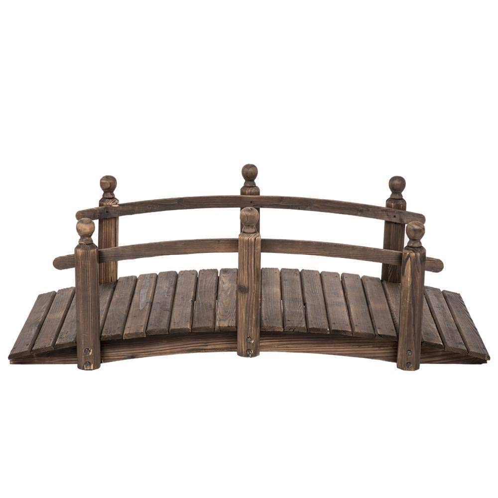 5 Feet Wooden Bridge Creek, Garden or Backyard Stained Finish Decorative Solid Wood Garden Pond Arch Walkway by Unknown (Image #7)