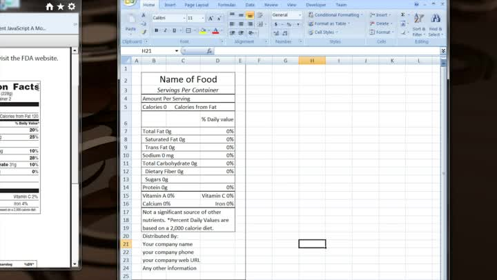 how to make your own excel template for nutrition facts. Black Bedroom Furniture Sets. Home Design Ideas