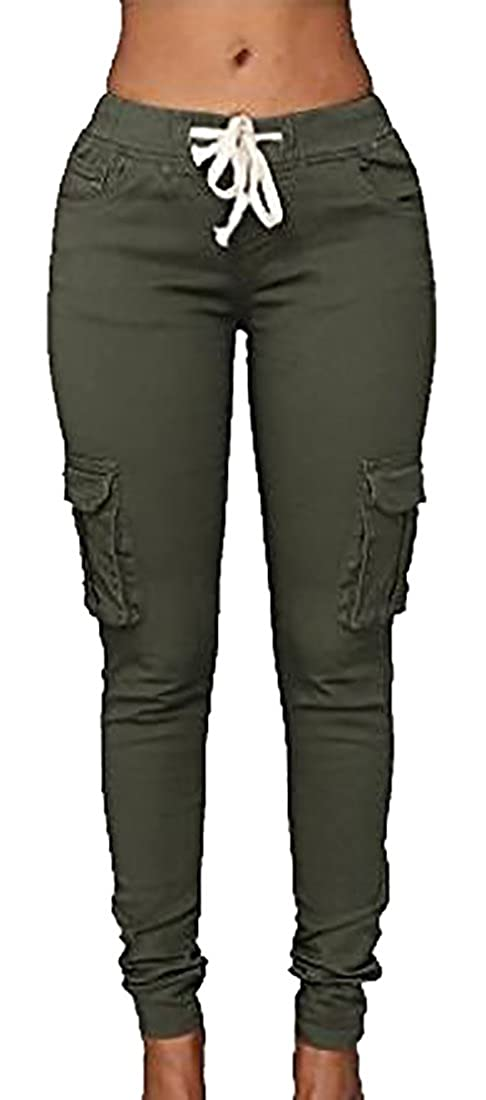 503088d787 Top2: Cruiize Women\'s Solid Stretch Drawstring Casual Skinny Cargo Pants