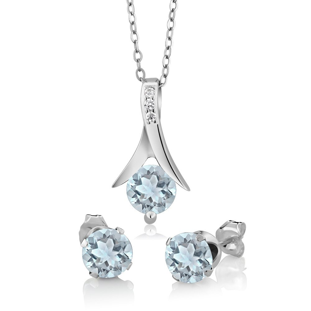 Gem Stone King 2.25 Ct Round Aquamarine 925 Sterling Silver Pendant and Earrings Set With 18 Inch Silver Chain