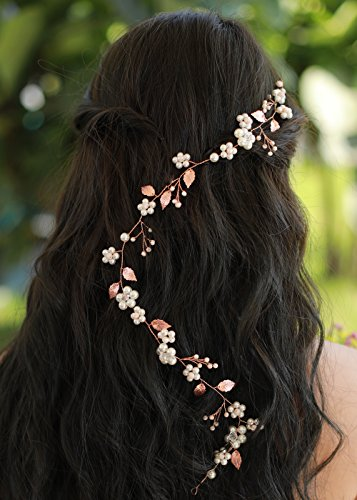 Missgrace Bridal Fashion Rose Gold Crystal Hair Vine Wedding Vintage Headpiece Women Leaf Headband Hair (Crystal Hair Vine)