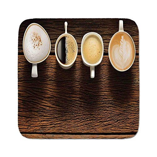 Cozy Seat Protector Pads Cushion Area Rug,Modern,Coffee Beverage Mug Cup Utensils Image Rustic Design Home Cafe Interior Kitchenware Art,Brown White,Easy to Use on Any Surface