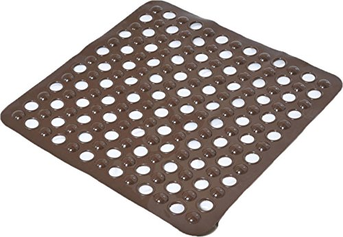 "EVIDECO Non-Skid Square Shower Mat with Holes 20""x20"" Sol..."