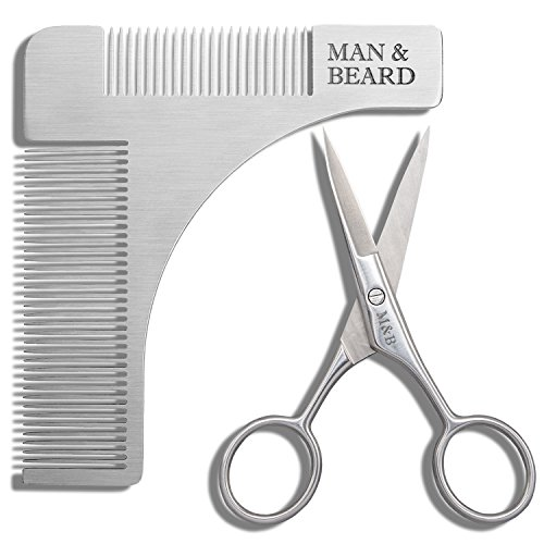 Man&Beard - Stainless Steel Beard Shaping Tool and Scissors Kit for Beard Trimming and Grooming in Premium Gift (Beard With Goatee)