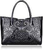Pijushi Ladies Embossed Floral Handbags Leather Tote Handle Shoulder Handbags 91776 (Black)