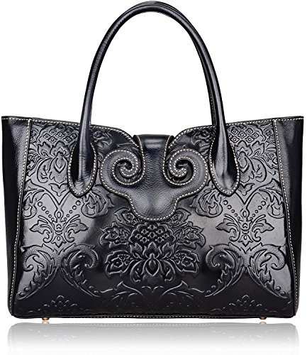 Pijushi Ladies Embossed Floral Handbags Leather Tote Handle Shoulder Handbags 91776 (Black) by PIJUSHI