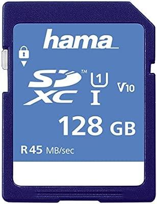 Hama 128Gb SDXC Memoria Flash Clase 10 - Tarjeta de Memoria (128 GB, SDXC, Clase 10, 45 MB/s, Negro)