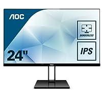 "AOC 24V2Q - Monitor de 24"" Full HD (IPS, sin Marco, superdelgada, FreeSync, 75 Hz, con Soporte de Metal pivotable)"