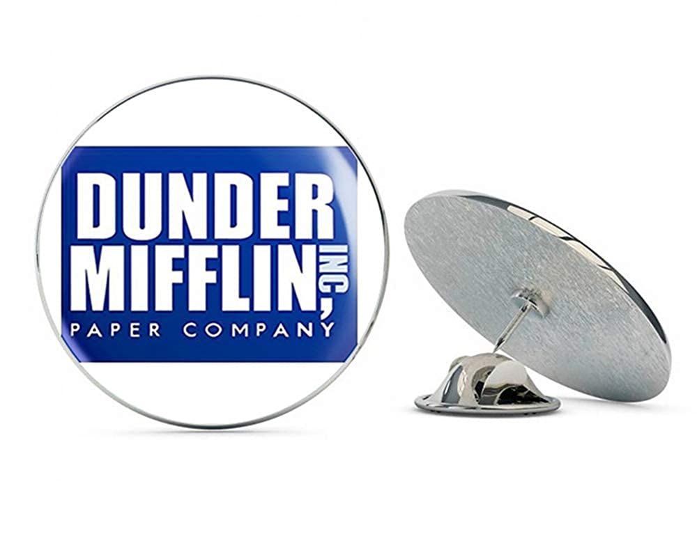 NYC Jewelers Blue Dunder Mifflin Paper Company Logo (The Office Funny tv Show) Metal 0.75' Lapel Hat Pin Tie Tack Pinback