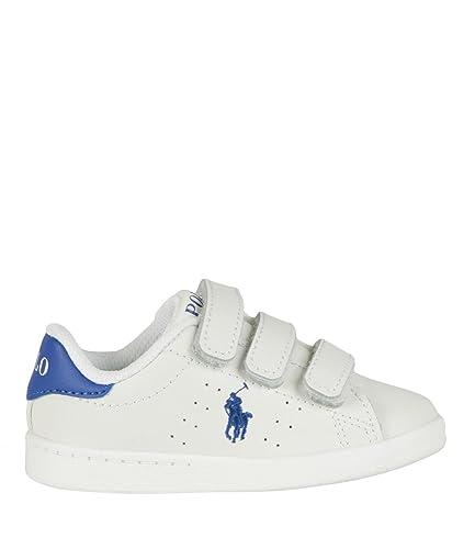 Polo Ralph Lauren Quilton EZ White Royal Leather Baby Sneakers ... 3c91033259c