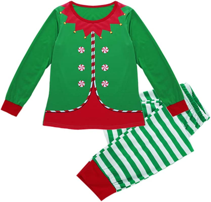 PJs Sleepwear Christmas Elf Parent-Child Cotton Costume T Shirt and Striped Pants Green Woman Man Christmas T-Shirts Set Pajamas Christmas Family