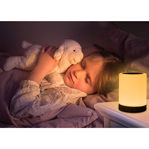 ROYFACC Table Lamp Touch Sensor Lamp Bedside LED Night Light for Kids Bedroom Rechargeable Dimmable Warm White Light + RGB Color Changing by ROYFACC (Image #2)