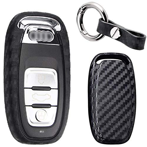 MODIPIM Keyless Entry Remote Case Key Fob Covers Carbon Fiber Looks Silicone Holder Shell with Key Chain for Audi Q7 Q5 Q3 A3 A4 A5 A6 S3 S5 R8 3 -