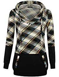 Women's Long Sleeve Plaid Pullover Color Block Hooded Sweatshirt with Kangaroo Pockets
