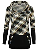 VALOLIA Women's Hoodies Sweatshirts, Long Sleeve V Neck with Button Decor Lightweight Drawstring Sweatshirt BB M