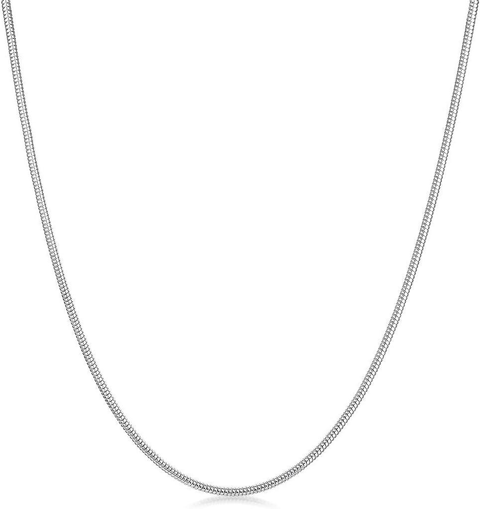 40 45 50 55 60 cm Fina Plata De Ley 925 Amberta/® Joyer/ía 1.4 mm Collar Cadena de Serpiente